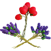 Vintage Millinery Flowers and Fruit Strawberries Grape Hyacinth Japan