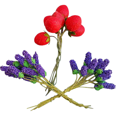 Vintage Millinery Flowers and Fruit Strawberries Grape Hyacinth Japan