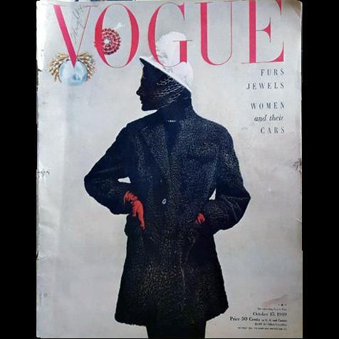 Vintage Vogue Magazine October 1949 Adrian Fashion Jewelry Advertising Original