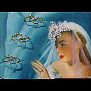 Original 1947 Vogue Fashion Magazine Weddings Jewelry Schiaparelli Eisenberg Cartier