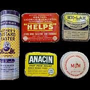 5 Vintage Tins Advertising Drug Store Medical Pharmacy Medicine Old