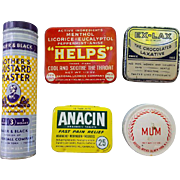 5 Vintage Tins Advertising Drugstore Medical Pharmacy Medicine Old