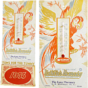 1935 Calendar TUMS Advertising Thermometer Pharmacy Kuna Idaho Parrot Depression Era