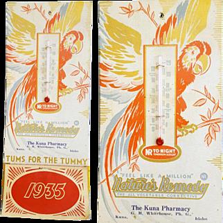 1935 Thermometer Calendar Pharmacy Kuna Idaho TUMS Advertising