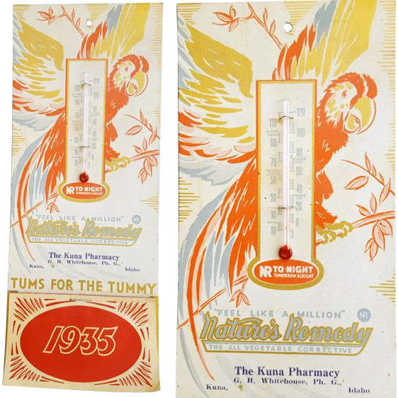 1935 Thermometer Calendar Pharmacy Kuna Idaho TUMS Advertising Depression Era
