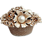 Vintage 1970s Florenza Vanity Pill Box Rhinestones and Faux Pearls