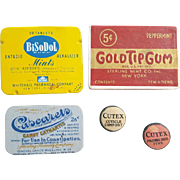 Group of Very Old Medical Pharmacy Drugstore Tins Containers Advertising