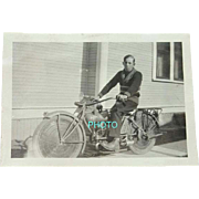 Black and White Photograph 1920s Boy on a Motorized Bicycle Boise Idaho