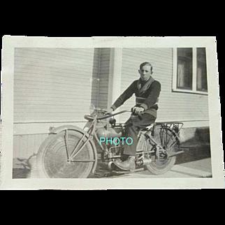 Black and White Photograph 1920s Boy on a Motorized Bicycle Boise Idaho