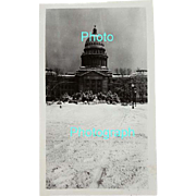 Photograph Black and White Boise Idaho State Capitol Building Winter 1920s