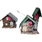 Miniature Vintage Putz Christmas House and Church Ornaments Mica Glitter