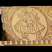 Rare Antique Sunbonnet Babies Pyrography Pencil Box 1900 Mint