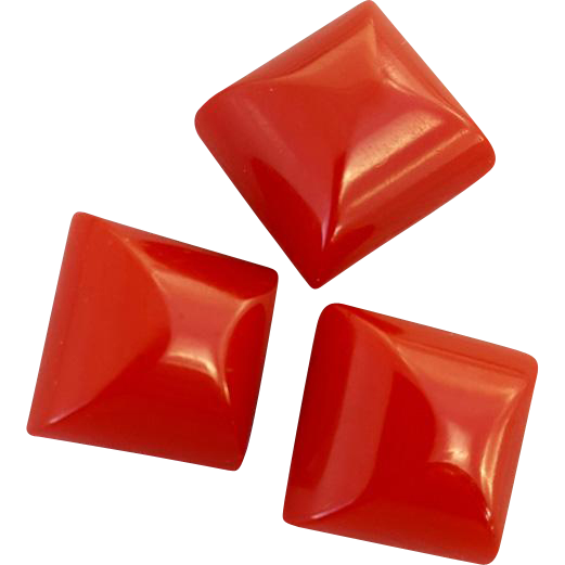 Bakelite Buttons Three Red Chubby Cubes Sew Through