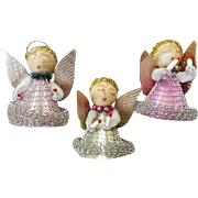 Vintage Chenille Christmas Angels Spun Cotton Japan