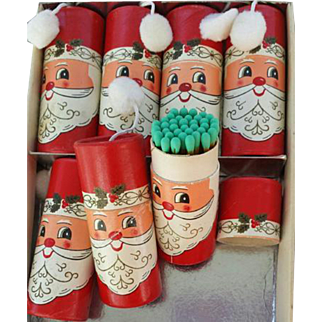 Vintage 1960s Christmas Santa Claus Matches Mint in Round Boxes Japan