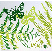 Vintage Kitchen Vera Neumann Vinyl Placemats Butterflies Ferns