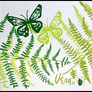 Vintage Kitchen Vera Neumann Vinyl Placemats Butterflies Ferns - Red Tag Sale Item