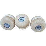 Vintage 1940s Cotton Crochet Tatting Thread France 3 Skeins