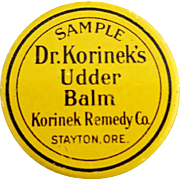 1930s Salesman's Sample Tin Dr. Korinek's Udder Balm Stayton Oregon