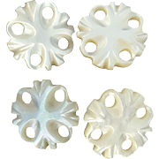 4 Tiny Carved Mother of Pearl Buttons Antique Doll Size