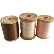 Vintage Silk Thread 3 Spools Mauve Brown Antique White, Pink