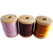Vintage Silk Thread on Wooden Spools Orchid Pink Burgundy and Amber