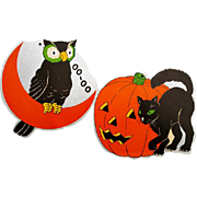Vintage Die Cut Halloween Black Cat Black Owl with Silver