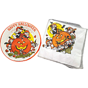 Vintage Halloween Plates with Napkins Black Cats Jack o' Lantern