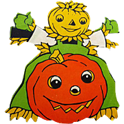 Vintage Die Cut Halloween Decoration 1950s Pumpkin Scarecrow JOL