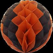 Vintage Honeycomb Halloween Decoration Large Pumpkin 1950s
