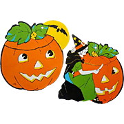 Two Vintage Halloween Decorations Die cut Witch JOL