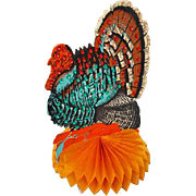 Vintage Honeycomb Die Cut Thanksgiving Turkey Table Decoration with Sequins