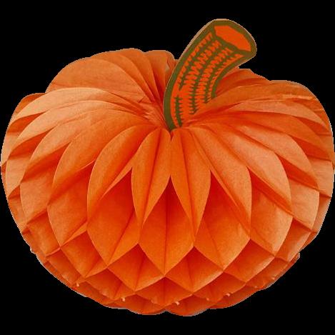 Vintage Honeycomb Die Cut Pumpkin Halloween Autumn Thanksgiving 1960s