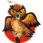 Angry Owl Die Cut Halloween Decoration Vintage 1950s