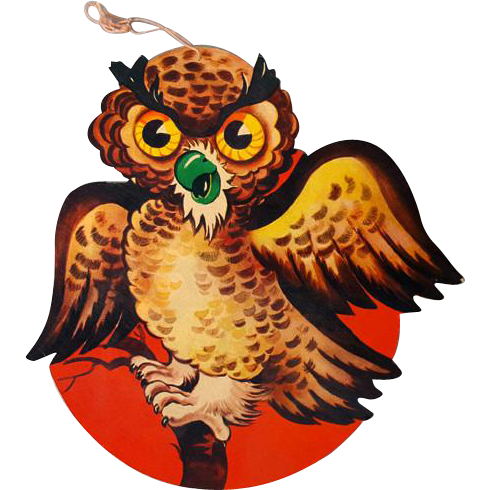 Angry Owl Die Cut Halloween Decoration Vintage 1950s