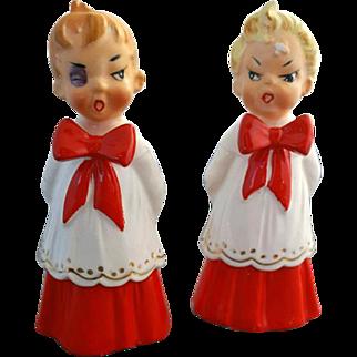 Vintage Ceramic Naughty Christmas Choir Boys Figures Fighting MIJ