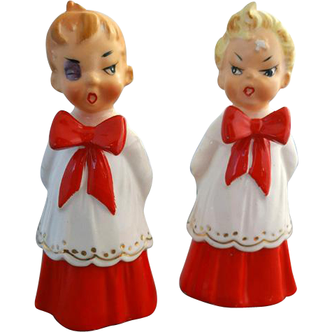 Vintage Ceramic Naughty Christmas Choir Boys Figures Fighting MIJ