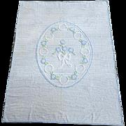 Vintage Chenille Bedspread Children's or Crib Size Sweet Florals