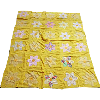 Vintage Cotton Quilt Top 30 Floral Blocks 1930s - 1940s Mickey Mouse