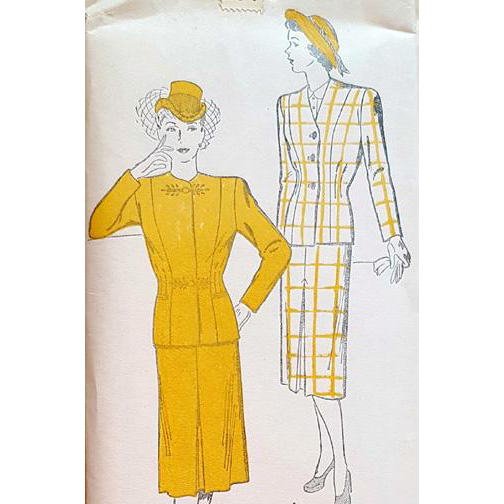 Women's 1940s Vintage Suit Sewing Pattern Rare Plus Size Bust 46 Mint
