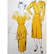 Women's Vintage 1940s Cocktail Dress Sewing Pattern Bust 40 XL