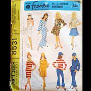 Vintage 1966 Doll Pattern Francie Original Mattel McCall's 8531