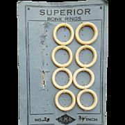 Vintage Superior Bone Rings Old Sewing Notion