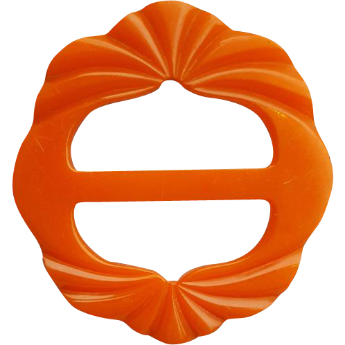 Vintage Bakelite Belt Buckle Slide Pumpkin