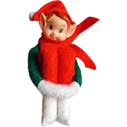 Vintage Christmas Knee Hugger Elf Felt Shelf Sitter
