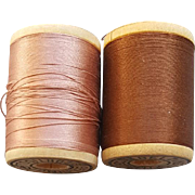 Silk Thread on Wooden Spools Pink Brown Doll Clothing Restoration