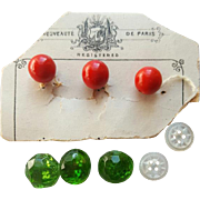 8 Miniature Doll Buttons French, Green Glass and Mother of Pearl