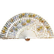 Vintage Handpainted Folding Fan Wood Silk French Style