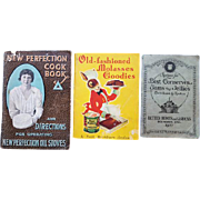 Three 1900 - 1920s - 1930s Vintage Advertising Cook Books Brer Rabbit Perfection Jams