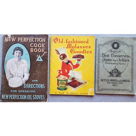 Three 1900 - 1920s - 1930s Vintage Advertising Cookbooks Brer Rabbit Perfection Jams